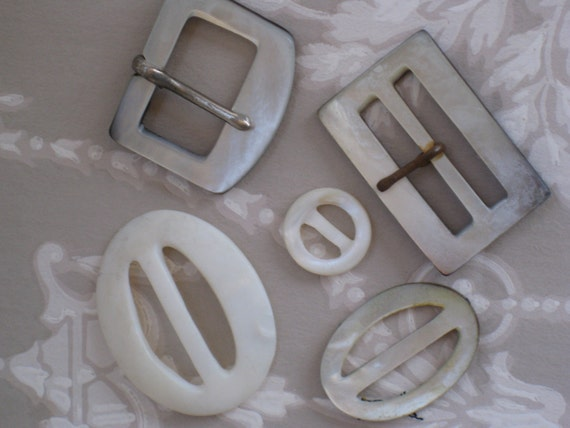 Collection of Five VIntage Mother of Pearl Shell Buckles & Slides - Smokey Grey and White MOP