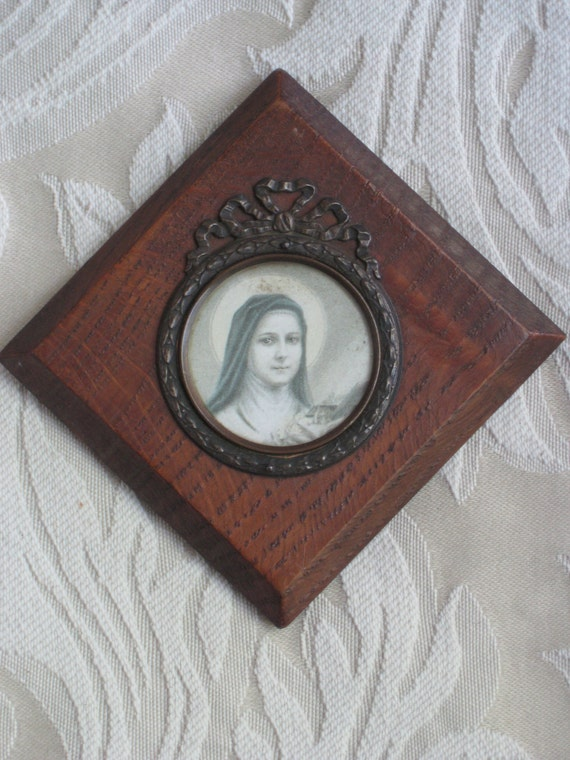 Saint Therese Antique French Catholica Ex Voto - Print Under Glass With Metal Frame & Wood Base