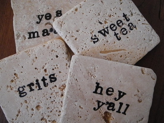 Tile Coasters- Southern Words set of four