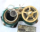 Steampunk Flip Up Airship Goggles No. 28 Gear Cyber Goth Rave LARP Brass Custom Hand Paint and Modifications Clockworks