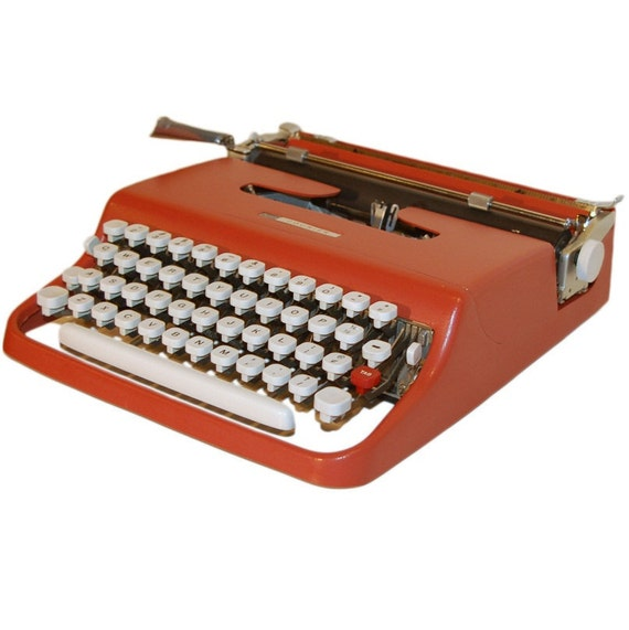 Revitalized Orange-Red Sears Courier Typewriter Professionally Refurbished Portable & Two New Ribbons