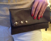 Green Bay Packers Gray Leather Clutch (Team is Customizable)