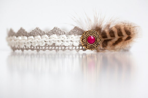 Newborn headband with button and feather  - white, tan, gold, pink, brown - Mythology Collection
