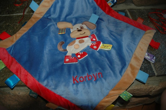Personalized embroidered Taggies Puppy cozy blanket