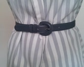 Charcoal gray vintage leather waist belt