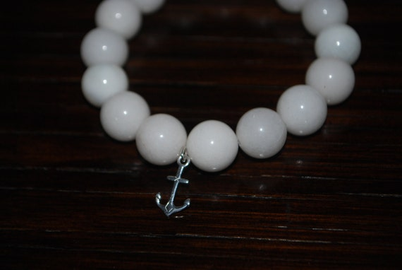White Agate Bead Bracelet with Silver Anchor Charm