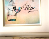"Children's Wall Art Print - Caged Bird Sings Hope 8x10"" - Kid's Nursery Room Decor"