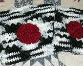 purse crocheted black and white and red 2 purses 1 price  childs women