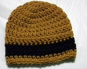 SALE baby boys crochet hat beanie tan with brown striped
