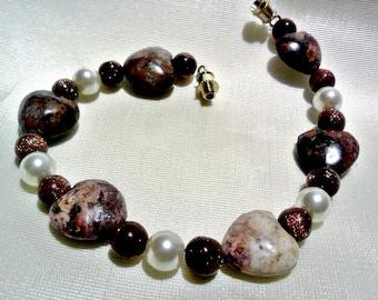 bracelet semi-precious heart goldstone jasper women girls beaded