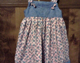 SALE girls dress size 6 blue pink white flowers bees ready to ship