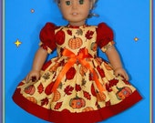 Thanksgiving Harvest & Fall Dress fits American Girl or other 18 inch doll
