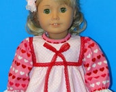 Cute Pink Flannel Nightgown  - 18 Inch Doll Clothing for American Girl Dolls