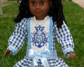 1900s Edvardian  Drop Waist Blue Gingham Doll Dress - fits  American Girl or other 18 inch doll