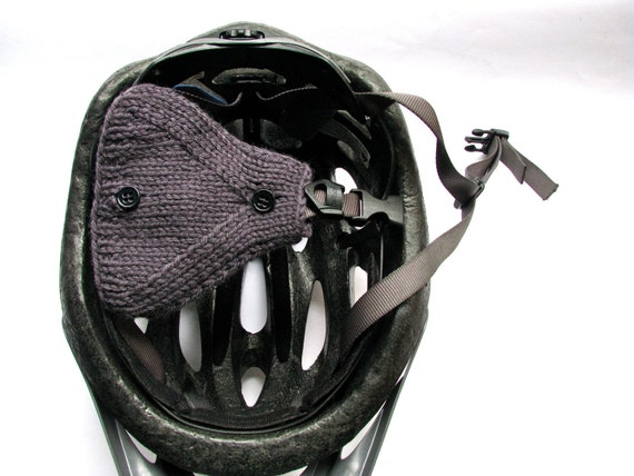 Bicycle Helmet Ear Warmers Gray Wool Hand Knit