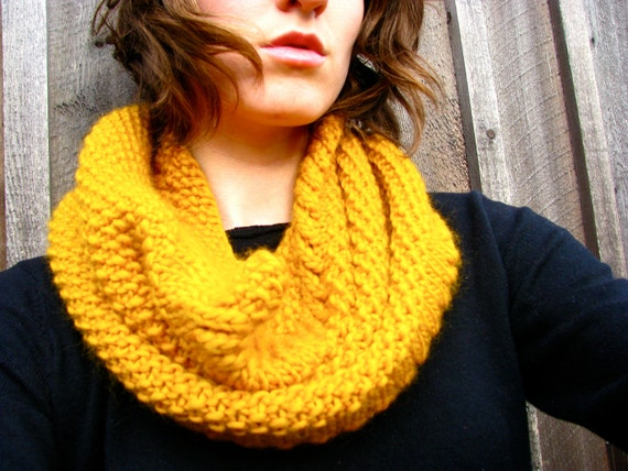 Chunky Cowl Infinity Scarf Mustard Golden Yellow Knitted Neckwarmer Hood