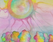 Watercolor paints on paper, Original painting, Color Burn