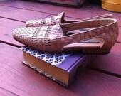 RESERVED Until 8/8- Vintage Woven Slip-On Leather Shoes- RESERVED Until 8/8