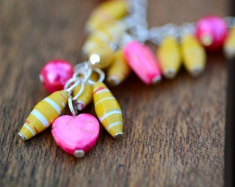 Paper Bead Necklace - Sunshine yellow and hot pink