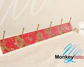 Red and Gold Floral Hat and Coat Rack / Key Rack - 6 Double Hooks - Ready to Ship
