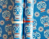 3 large sheets - Day of the Dead skull pattern eco gift wrap