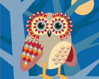Illustration - 'Owl Eyes 1' print
