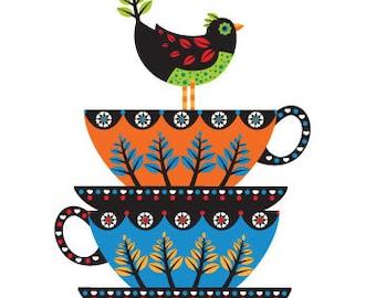 Vintage Tea Cup Print