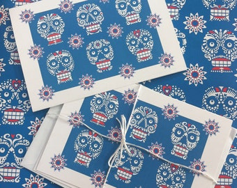 3 x Sugar Skull, greeting cards pack.  printed on re-cycled paper