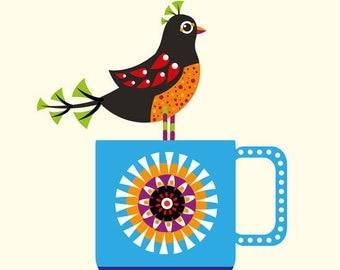 Blue Mug Bird Illustration Print