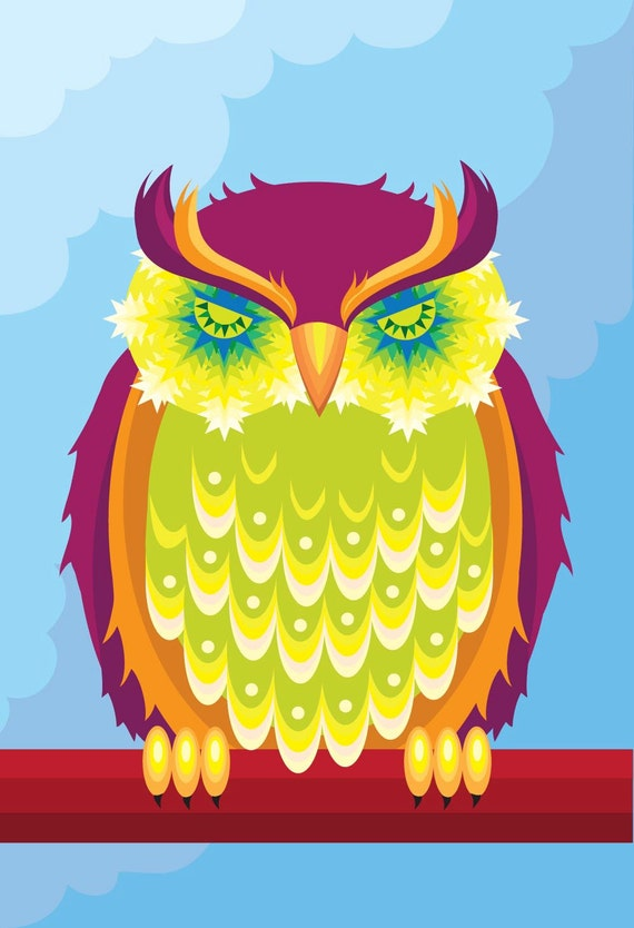 Illustration - 'Starry Eyed'  sleepy owl print