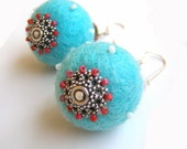 Blue Spring - beadwork jewelry - earrings with felt and beads