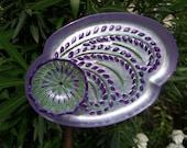 Garden Decor - Glass Flower Garden Art Hand Painted in Purples & Greens - Suncatcher - Lawn Ornament