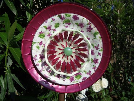 Garden Art Glass Plate Flower Art Hand Painted in Berry Wine & Green with a Floral Saucer - Suncatcher - Lawn Ornament - Glass Garden Stake