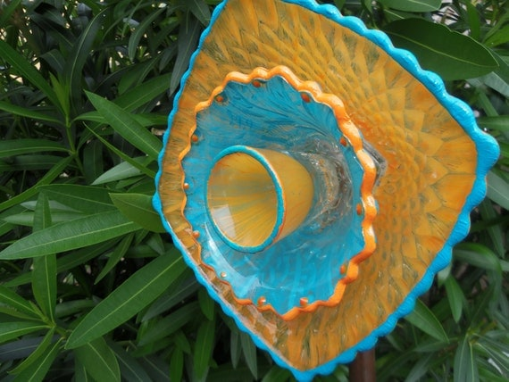 Garden Decor - Glass Flower Garden Art Hand Painted in Bright Orange & Turquoise  - Suncatcher - Lawn Ornament