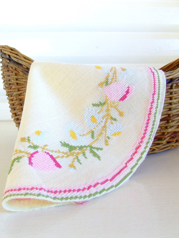 Danish round table runner with flower embroidery