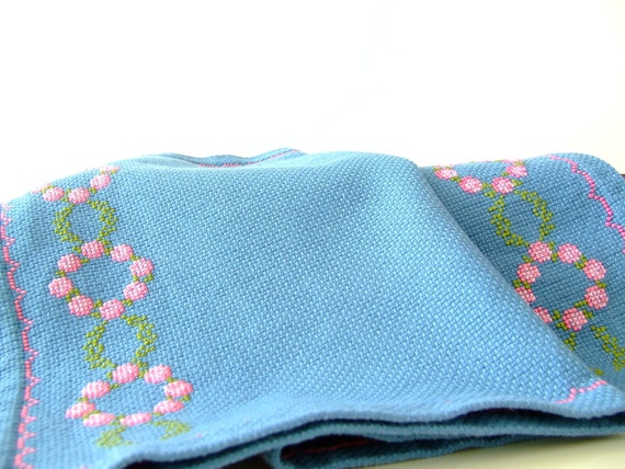 SALE 1960s Danish linen placemats - steel blue - embroidered