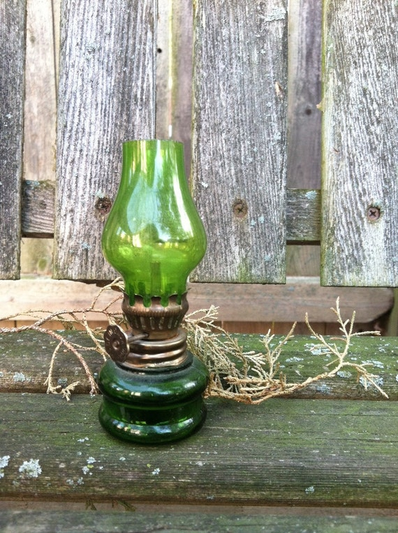 Sea Green Glass Small Oil Lamp / Lantern : Vintage & Adorable