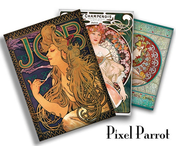Mucha Instant Download, Art Nouveau vintage cards gift tags high quality ATC - 001