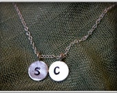 Initial charm necklace in sterling silver 10mm disc personalized hand stamped