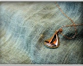 Sail Boat Necklace on 24k Gold over Sterling Silver -- sailing boat necklace