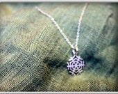 Snowflake Charm Necklace in Sterling Silver or 24K Yellow Gold over, snowflake pendant, snowflake necklace