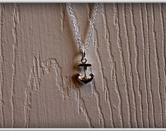 Anchor charm necklace on Sterling Silver -- anchor charm --  anchor necklace -- anchor silver