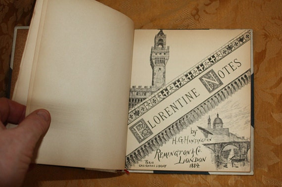 Sale: Antique Travel Book, Italy, Florentine Notes, Illustrated, Very rare first edition. 1884
