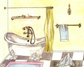 Bathroom Art - Matted Fine Art Print of Original Watercolor Painting of Vintage Bathtub