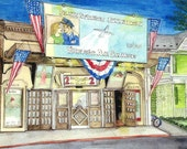 Patriotic Imperial Movie Theatre, Brunswick, Maryland,Watercolor Print showing Air Force Film June Allyson Jimmy Stewart