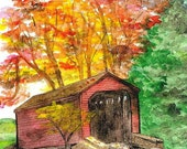 Loy's Station Covered Bridge, Thurmont, Maryland Art, Frederick County Picture, Matted Watercolor Print by Local Artist, Fall Scene, Autumn