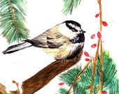 Chickadee Matted Print of Original Watercolor Painting, Bird Art Home Decor, Winter Nature Scene, Christmas Holiday Picture