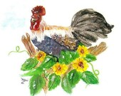Rooster Watercolor Print, Country Kitchen Home Decor Wall Art, Sunflowers and Bird Painting, Chicken, Hen, Farm Animal Picture