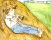 Little Boy  Blue Matted Fine Art Print of Original Watercolor Nursery Rhyme Character Kids Home Decor