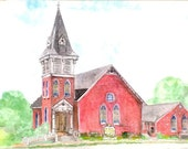 Church Watercolor Print, St. James United Church of Christ Original Painting, Lovettsville, Virginia Art, Stained Glass Windows Home Decor